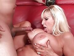 Mom with huge tits gets cum coating
