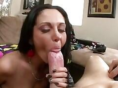 Busty cougar sucking big white cock pov