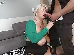 Lovely wife and mom fuck young boy