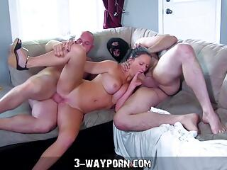Busty Housewife Gets Fucked in Amateur Threesome